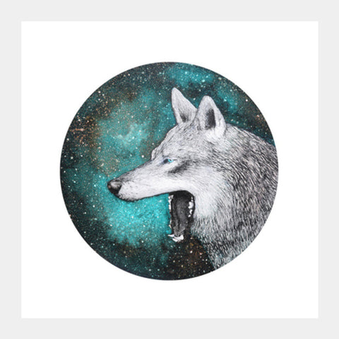 Blue Wolf Square Art Prints | Artist : Prakersh Gupta