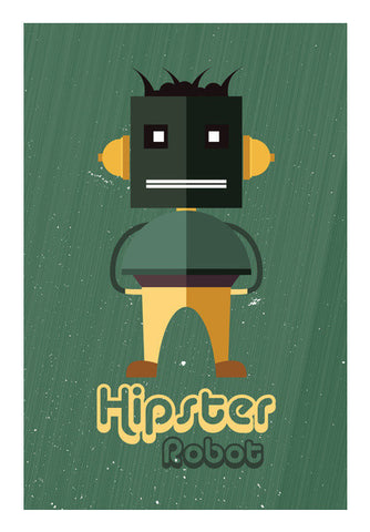Hipster Robot With Abstract Green Background Art PosterGully Specials