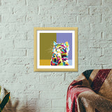 Colorfully Cat Hope Premium Square Italian Wooden Frames | Artist : Inderpreet Singh