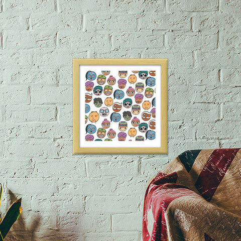 Funky People of India  Premium Square Italian Wooden Frames | Artist : Harsimran sain