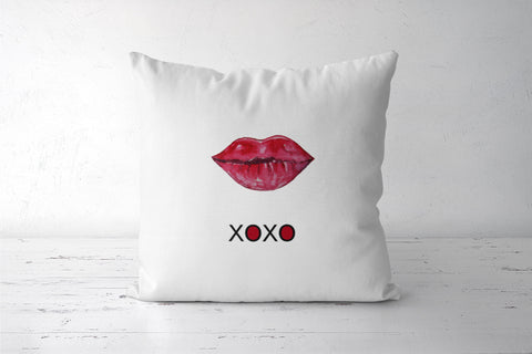 Pink Lips XOXO Cushion Cover l Artist: Seema Hooda