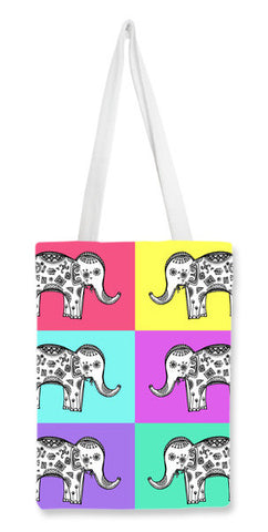 Colourful Elephant Patterns Tote Bags | Artist : Amulya Jayapal
