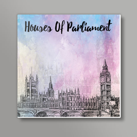 Palace of Westminster - London Square Metal Prints | Artist : Inderpreet Singh