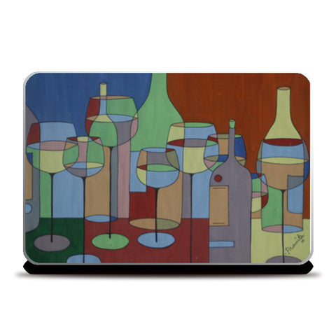 Wine Bottles Abstract Laptop Skins | Artist : Pranita Bajoria