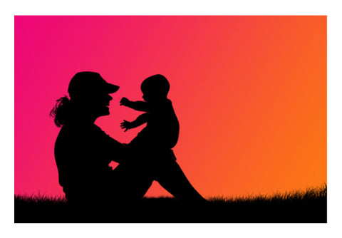 Mother With Cute Baby In Sunset  Wall Art  | Artist : Creative DJ