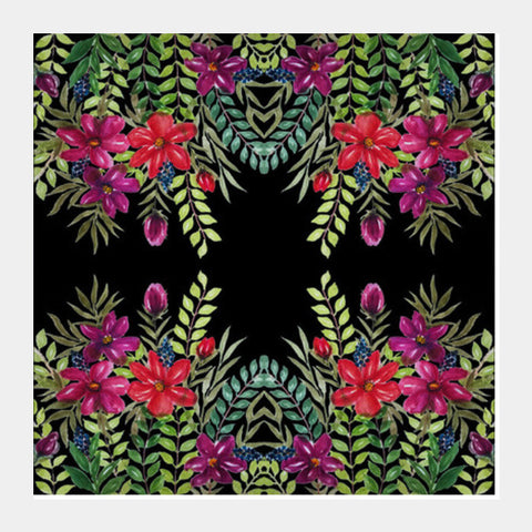 Watercolor Hand Painted Tropical Floral Pattern Background Square Art Prints PosterGully Specials