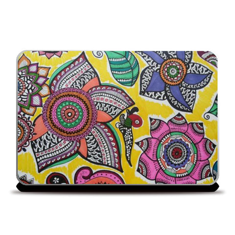 Laptop Skins, Happy Flowers Laptop Skins | Artist : Kathak Trivedi, - PosterGully