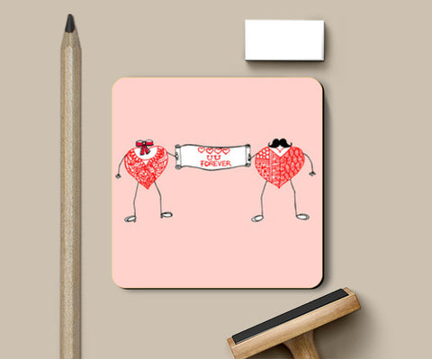 Coasters, Love you forever | Heart shape stick figures Coasters | Artist : Amulya Jayapal, - PosterGully