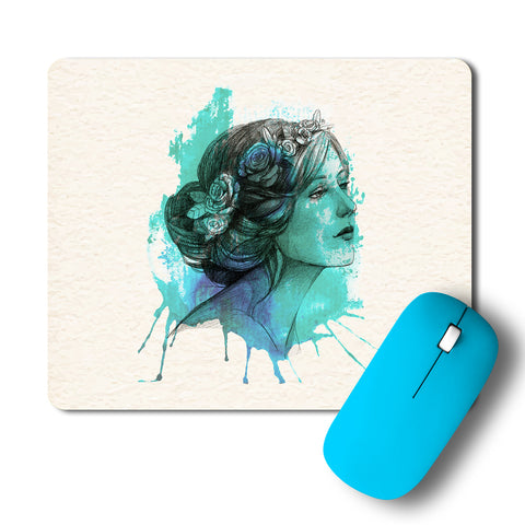 Woman With Floral Wreath Watercolor Artwork Mousepad