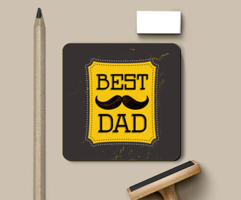 Best dad with mustache  Coasters | Artist : Designerchennai