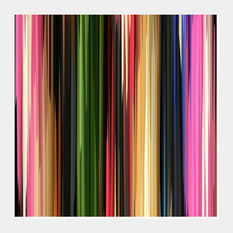Modern Colorful Abstract Vertical Lines/Stripes Pattern Retro Background Square Art Prints PosterGully Specials