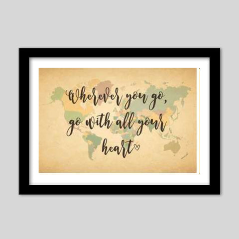 World Map With Text Quotes Premium Italian Wooden Frames | Artist : Inderpreet Singh