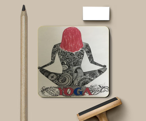 black and white, zen, art, yoga, quirky, fun coaster Coasters | Artist : Priyanka Singhania