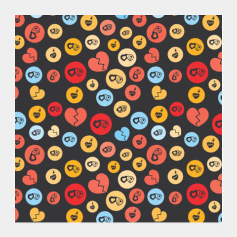 Love Romance Colorful Heart Shape On Black Square Art Prints PosterGully Specials