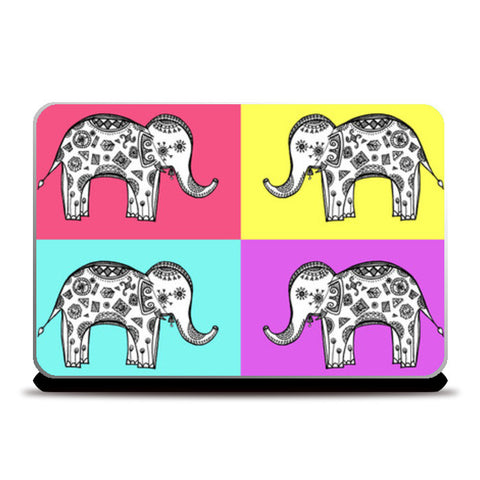 Colourful Elephant Patterns Laptop Skins | Artist : Amulya Jayapal
