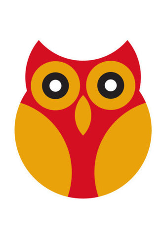 Red With Yellow Geometric Owl Art PosterGully Specials