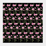 Abstract Pink Poppy Flowers Pattern Hand Painted Floral Illustration Square Art Prints | Artist : Seema Hooda