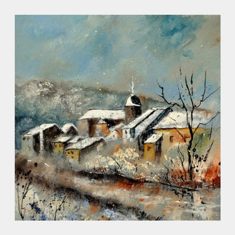 Snow in Chassepierre Square Art Prints | Artist : pol ledent
