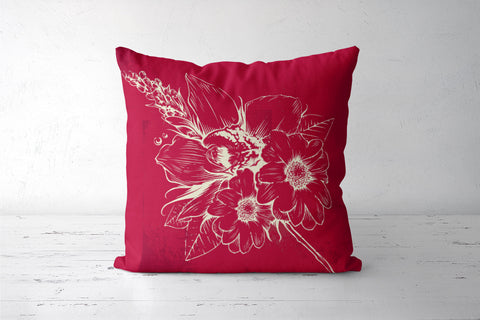 Red Love Floaral Pattern Cushion Covers | Artist : Inderpreet Singh