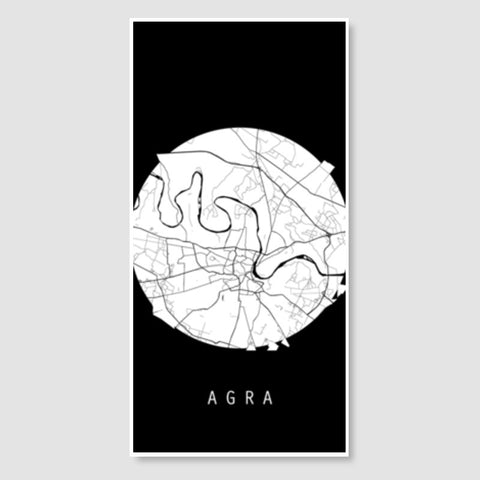 Agra Map, Black and White, India Map, World Map, Minimal Art, Poster, Wall Decor Door Poster | Artist : Shikhar Bhardwaj