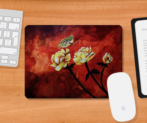 Butterfly and flowers painting Mousepad | Artist : Pallavi Rawal
