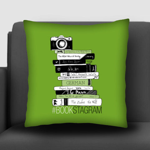 Bookstagram (Green) | Artist: Aparna Singh Cushion Covers | Artist : My doodles ate me… om nom