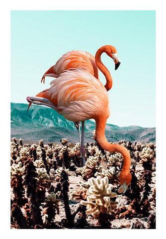 PosterGully Specials, Flamingos in the Desert Wall Art | Artist : Uma Gokhale, - PosterGully