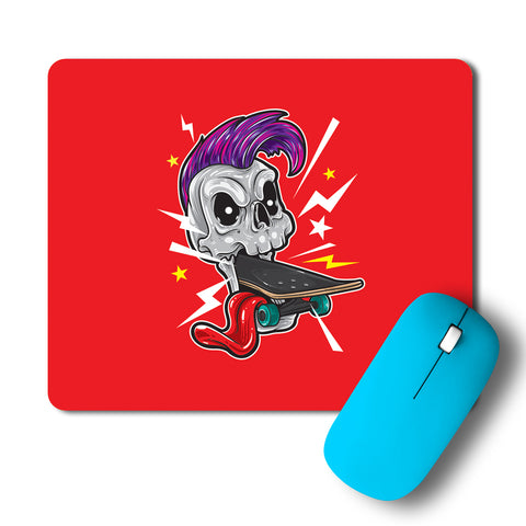 Skull Punk Skateboard Minimal Artwork Mousepad
