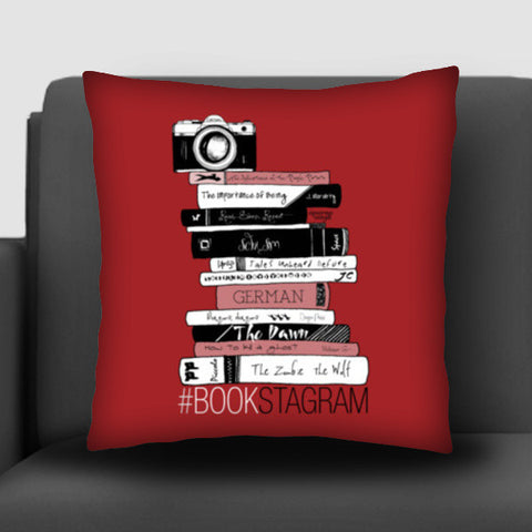 Bookstagram (Maroon) | Artist: Aparna Singh Cushion Covers | Artist : My doodles ate me… om nom