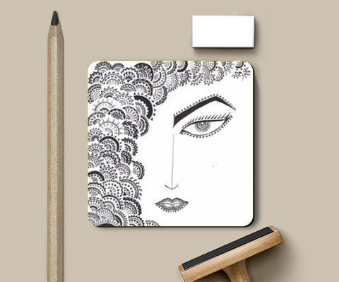 doodle,geometrics,black and white Coasters | Artist : All the randomness