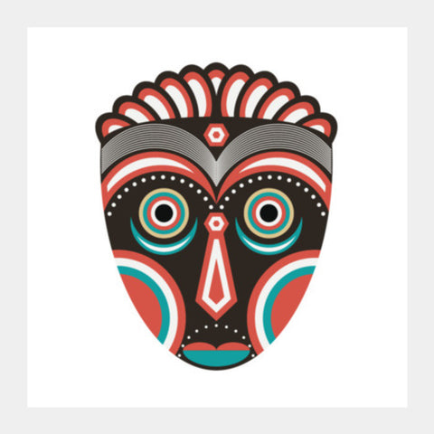 African Lulua Spirit Mask Square Art Prints PosterGully Specials