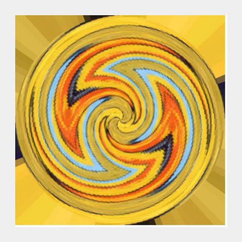Psychedelic Abstract Digital Wall Art Yellow Twirl Kaleidoscope Background Square Art Prints PosterGully Specials