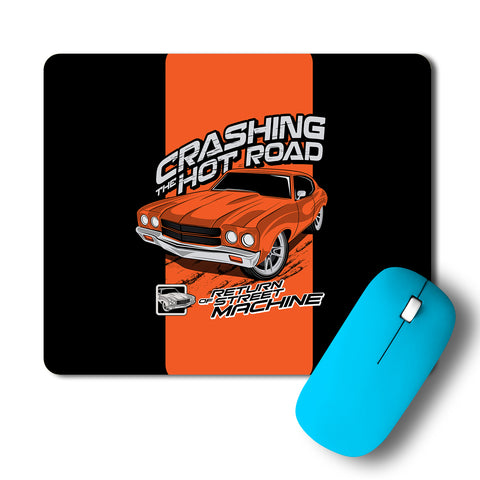 Crashing The Hot Roads Cool Car Artwork Mousepad