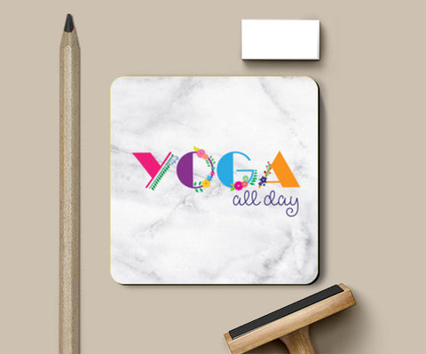 Yoga all day !! Coasters | Artist : Dolly P