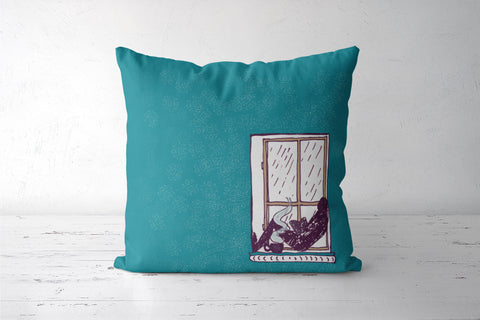 Reading in the rain Cushion Covers | Artist : Poornima Kumar