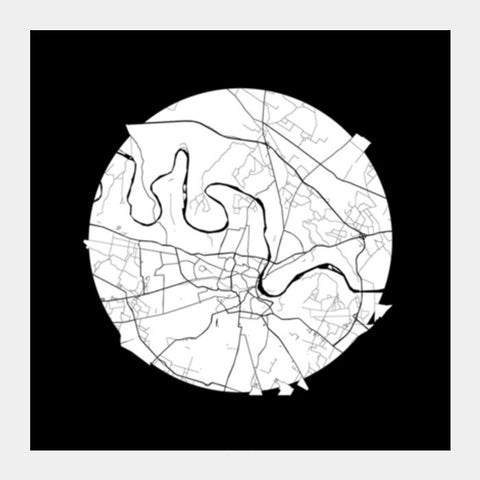 Agra Map, Black and White, India Map, World Map, Minimal Art, Poster, Wall Decor Square Art Prints | Artist : Shikhar Bhardwaj
