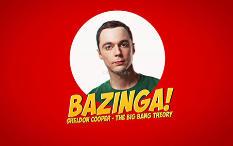 PosterGully Specials, Sheldon Cooper | Bazinga Red, - PosterGully