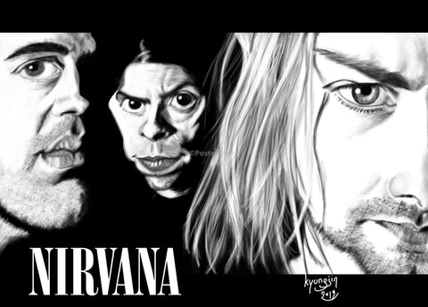 PosterGully Specials, Nirvana | Caricature Art, - PosterGully