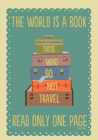 PosterGully Specials, The World Is A Book | St Augustine Quote, - PosterGully