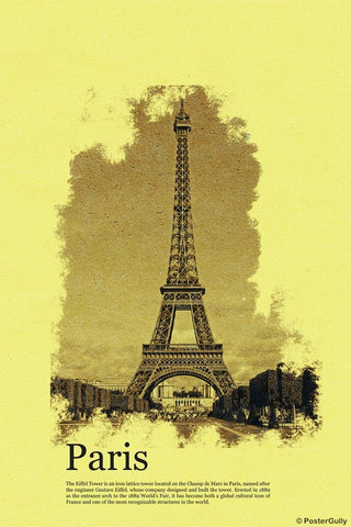 Wall Art, Eiffel Tower | Paris | Vintage Postcard, - PosterGully