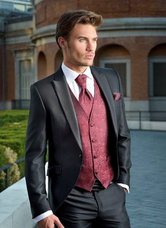 Burgundy and Black Suit