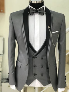 Gray Three Piece With Black lapel Suit