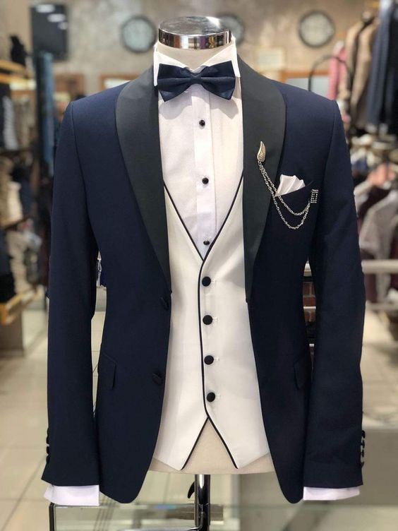 Navy Blue With Black Lapel Suit
