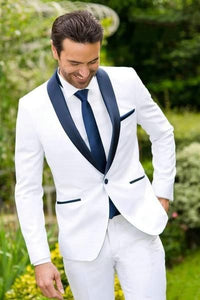 Mens White Suit with Blue Lapel