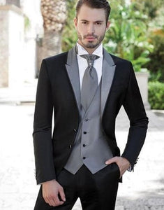 Black Three Piece With Gray Lapel Suit