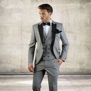 Mens Gray Suit With Winged Lapel