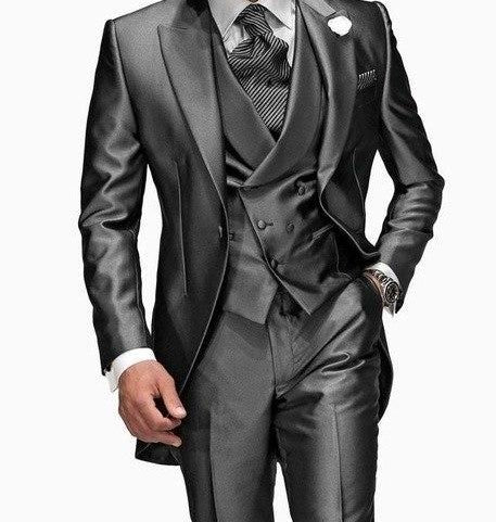 Mens Three Piece Silver Suit