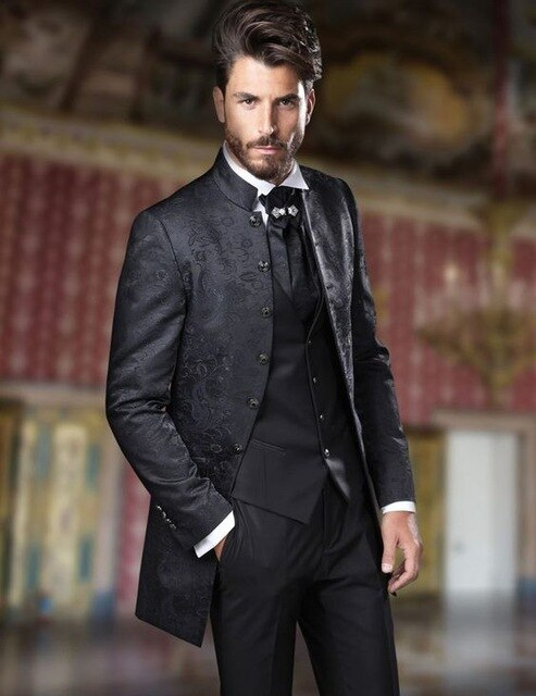 4 Piece Black Paisley Suit
