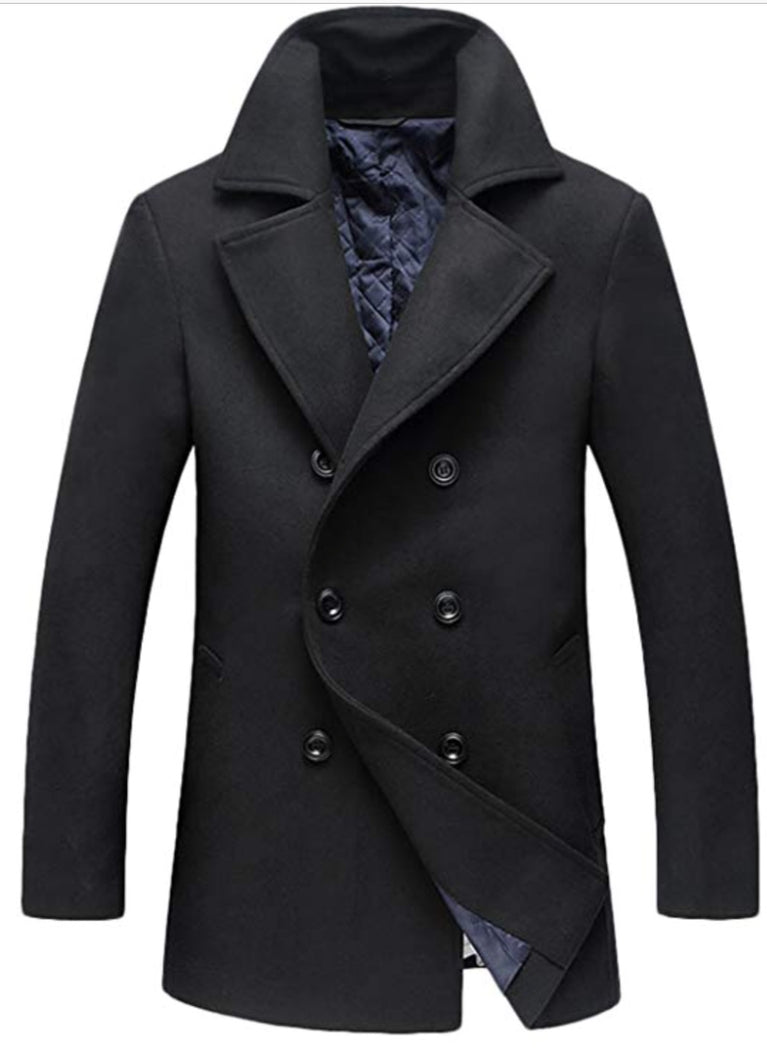 Men's Fitted Cashmere and Wool  Pea Coat