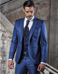 One Button Blue Notched Lapel Tuxedo